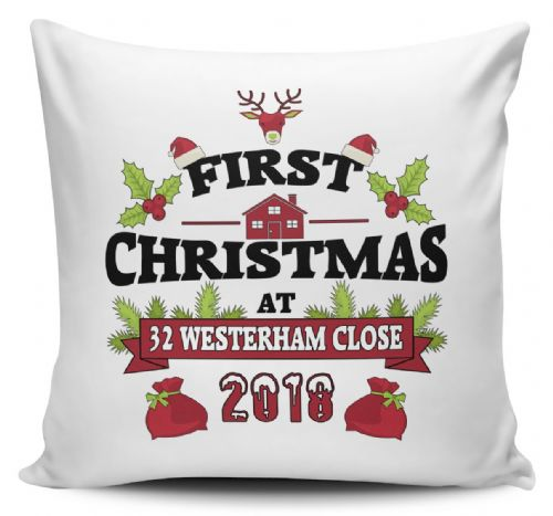 2018 Personalised First Christmas At New Address Cushion Cover